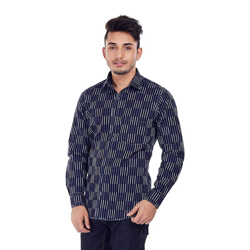 Indigo Chambray - Blue Colored Cotton Formal Wear and Casual Wear Shirt, Shirts, EVOQ, EVOQ - evoqstyle.com