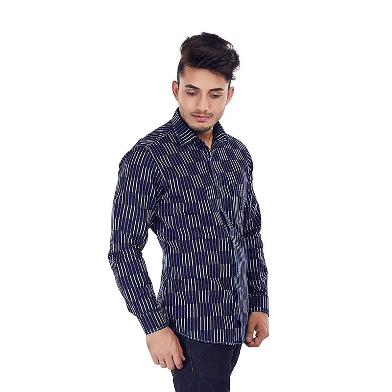 Indigo Chambray - Blue Colored Cotton Formal Wear and Casual Wear Shirt - EVOQ