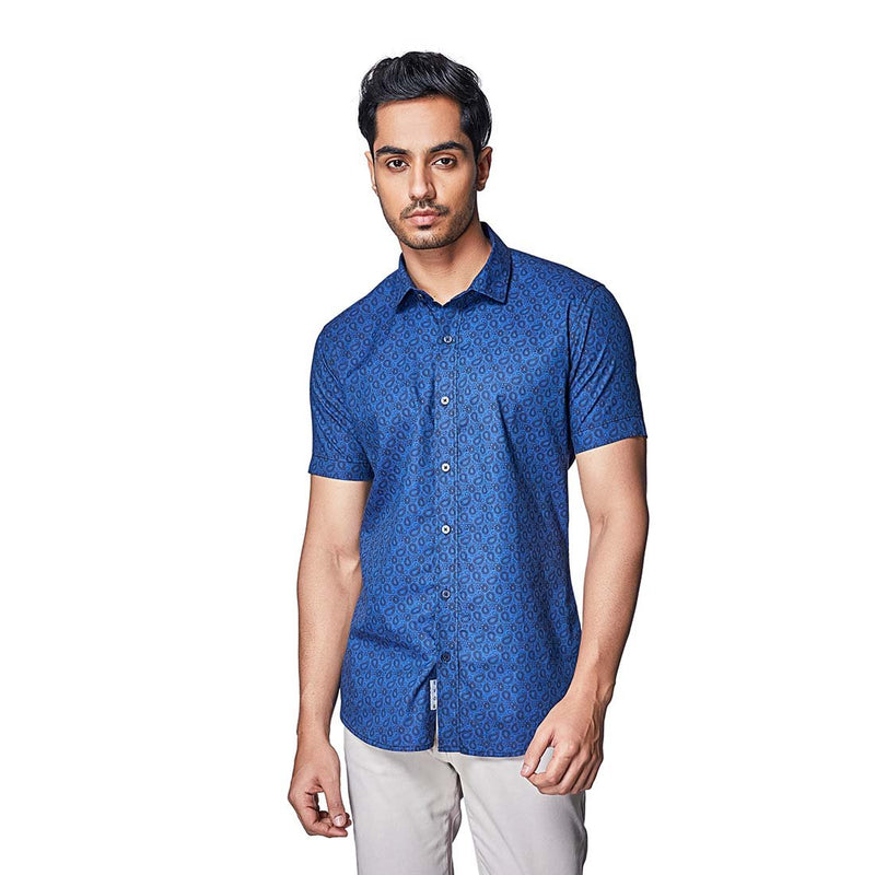 Indigo Paisley - Half Sleeves Cotton Printed Shirt - EVOQ