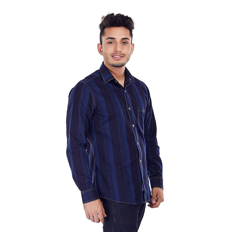Indigo Stripes - Blue Stripe Casual Wear and Evening Wear/Party Wear Shirt - EVOQ
