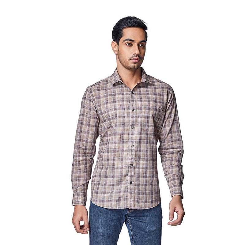 Khadi Madras - Khadi Colour Cotton Linen Chequered Full Sleeve Spread Collar Shirt - EVOQ