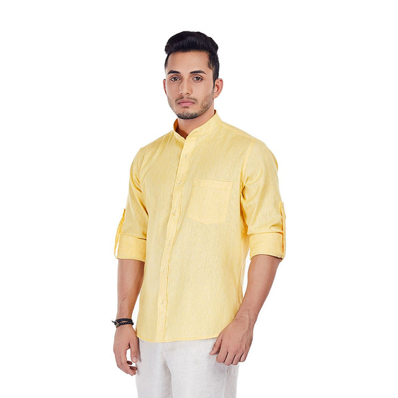 Lemoncello - Bright Yellow Colored Premium Linen Formal Wear and Casual Wear Shirt, Shirts, EVOQ, EVOQ - evoqstyle.com