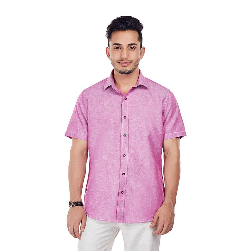 Mauve On - Pink Color Half-sleeves Linen Casual Wear and Party Wear Shirt, Shirts, EVOQ, EVOQ - evoqstyle.com