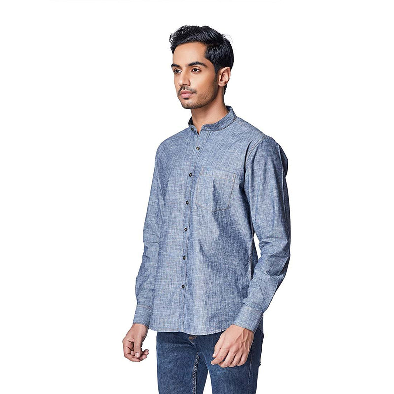 Ocean Gray - Two Toned Blueish Gray Chambray Cotton Checks Full Sleeve Spread Collar Shirt - EVOQ