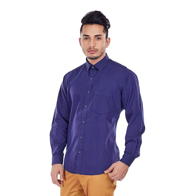 Pinstripe Parade - Purple Color Stripe Cotton Formal Wear and Casual Wear Shirt - EVOQ