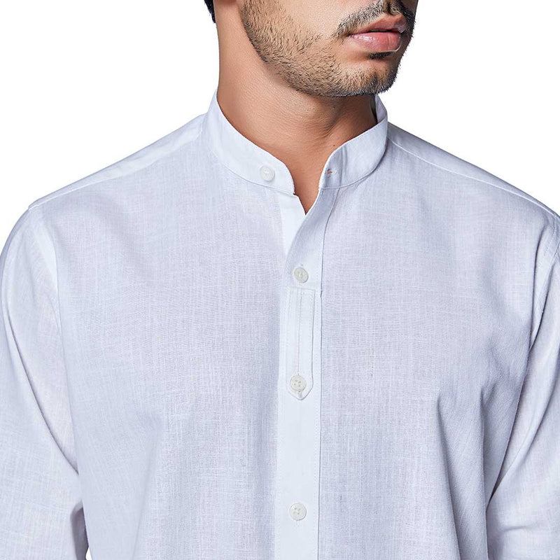 Polar White - White Cotton Linen Full Sleeved Mandarin Collar Shirt - EVOQ