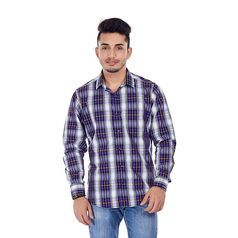 Purple Rays - Purple Chequered Cotton Formal Wear and Party Wear Shirt, Shirts, EVOQ, EVOQ - evoqstyle.com