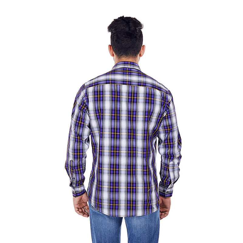 Purple Rays - Purple Chequered Cotton Formal Wear and Party Wear Shirt - EVOQ