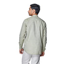 Rainforest Green - Green Cotton Linen Full Sleeve Stylized Mandarin Collar Shirt with Patch and Two Side Pockets - EVOQ