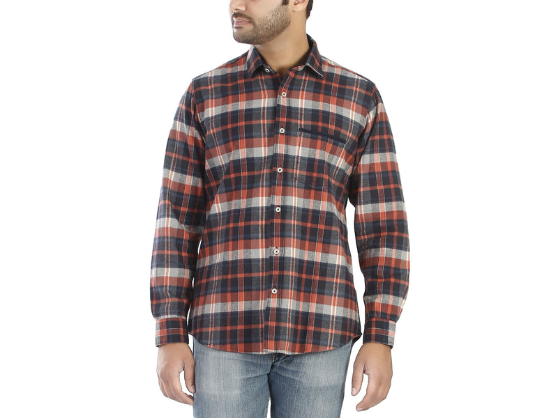 Red Ash - Red and navy blue flannel full sleeves cotton casual wear shirt - EVOQ