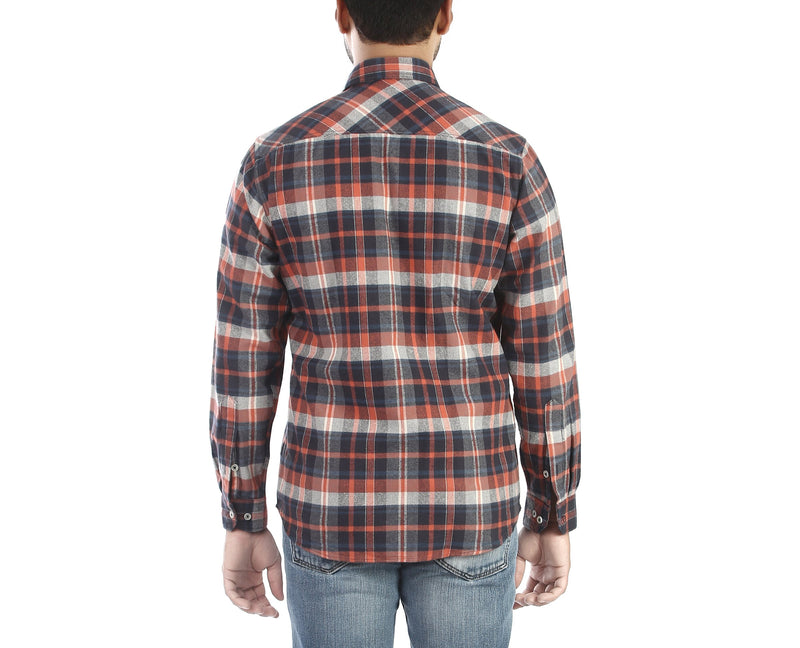 Red Ash - Red and navy blue flannel full sleeves cotton casual wear shirt, Shirts, EVOQ, EVOQ - evoqstyle.com