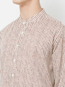 Stroke of Brown - EVOQ Men's Superior Quality Cotton-Linen White & Brown Full Sleeves Casual Shirt