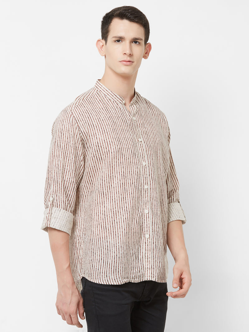 Stroke of Brown - EVOQ Men's Superior Quality Cotton-Linen White & Brown Full Sleeves Casual Shirt - EVOQ