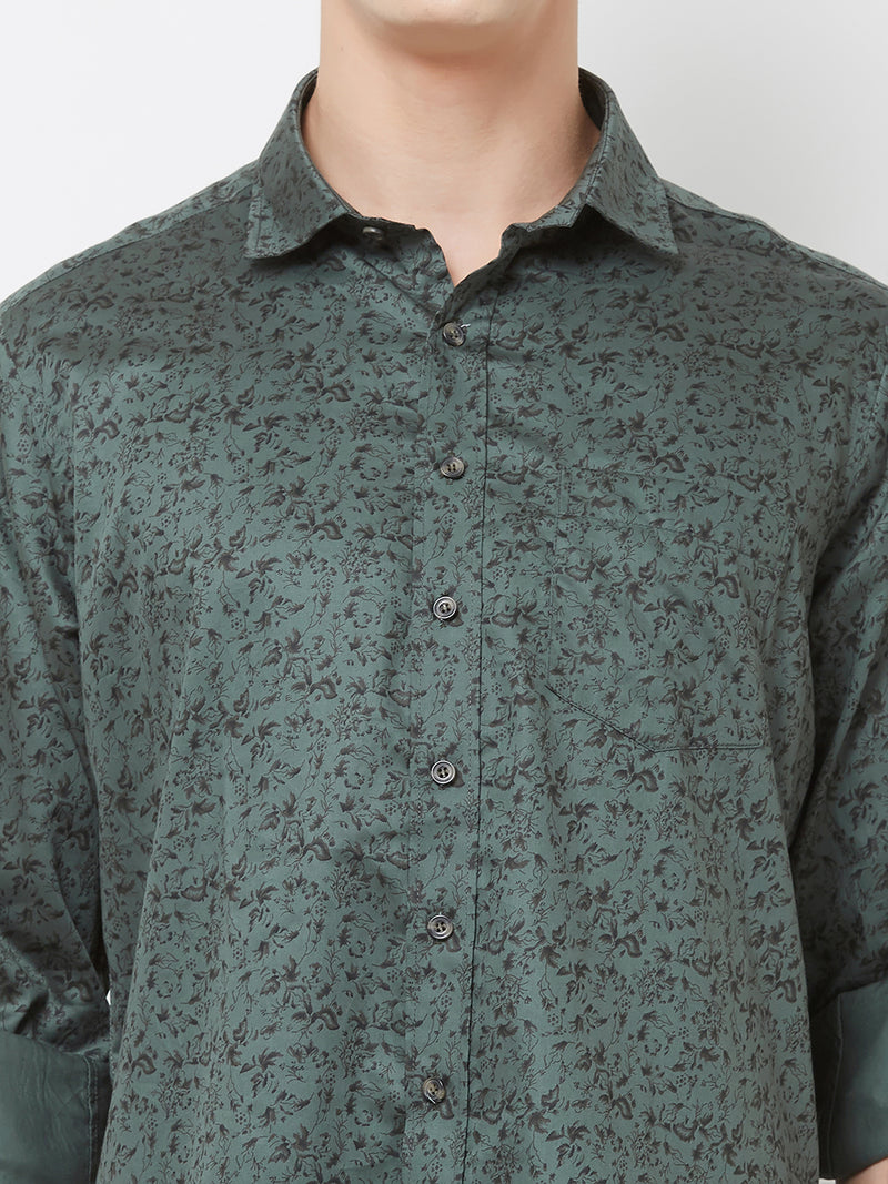 Olive Fields - EVOQ Men's 100% Pure Superior Cotton Olive Printed Full Sleeves Casual Shirt