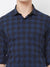 Cobalt Plaid - EVOQ Men's 100% Pure Superior Cotton Navy Blue Checkered Full Sleeves Casual Shirt
