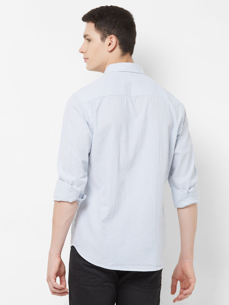 Classic Seersucker - EVOQ Men's 100% Pure Superior Cotton White and Blue Striped Seersucker Full Sleeves Casual Shirt