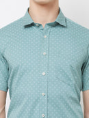 Minty Dreams - EVOQ Men's 100% Pure Superior Cotton Mint Half Sleeves Casual Shirt