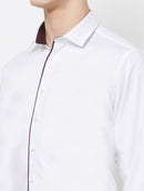Peace Lover - EVOQ Men's 100% Pure Superior Cotton White Full Sleeves Casual Shirt - EVOQ