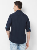 Indigo Twist - EVOQ Men's 100% Pure Superior Cotton Navy Blue Full Sleeves Casual Shirt