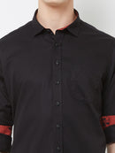 Choco Twist - EVOQ Men's 100% Pure Superior Cotton Black Full Sleeves Casual Shirt
