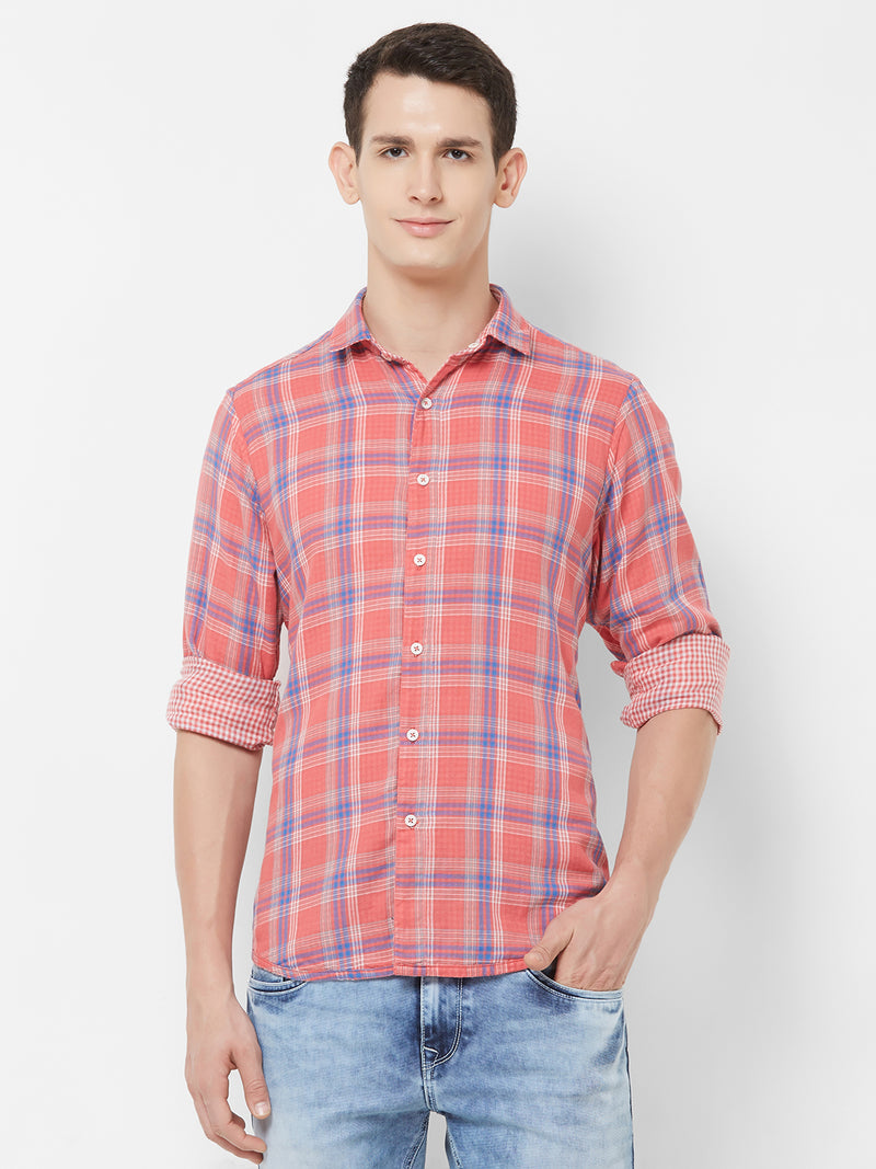 Crimson Fluidity - EVOQ Men's 100% Pure Superior Cotton Red Checkered Reversible Full Sleeves Casual Shirt - EVOQ