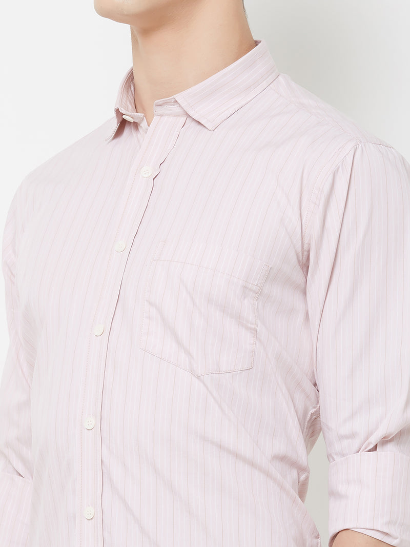 Lucid Dreams - EVOQ Men's 100% Pure Superior Cotton Soft Pink Stripped Full Sleeves Casual Shirt - EVOQ