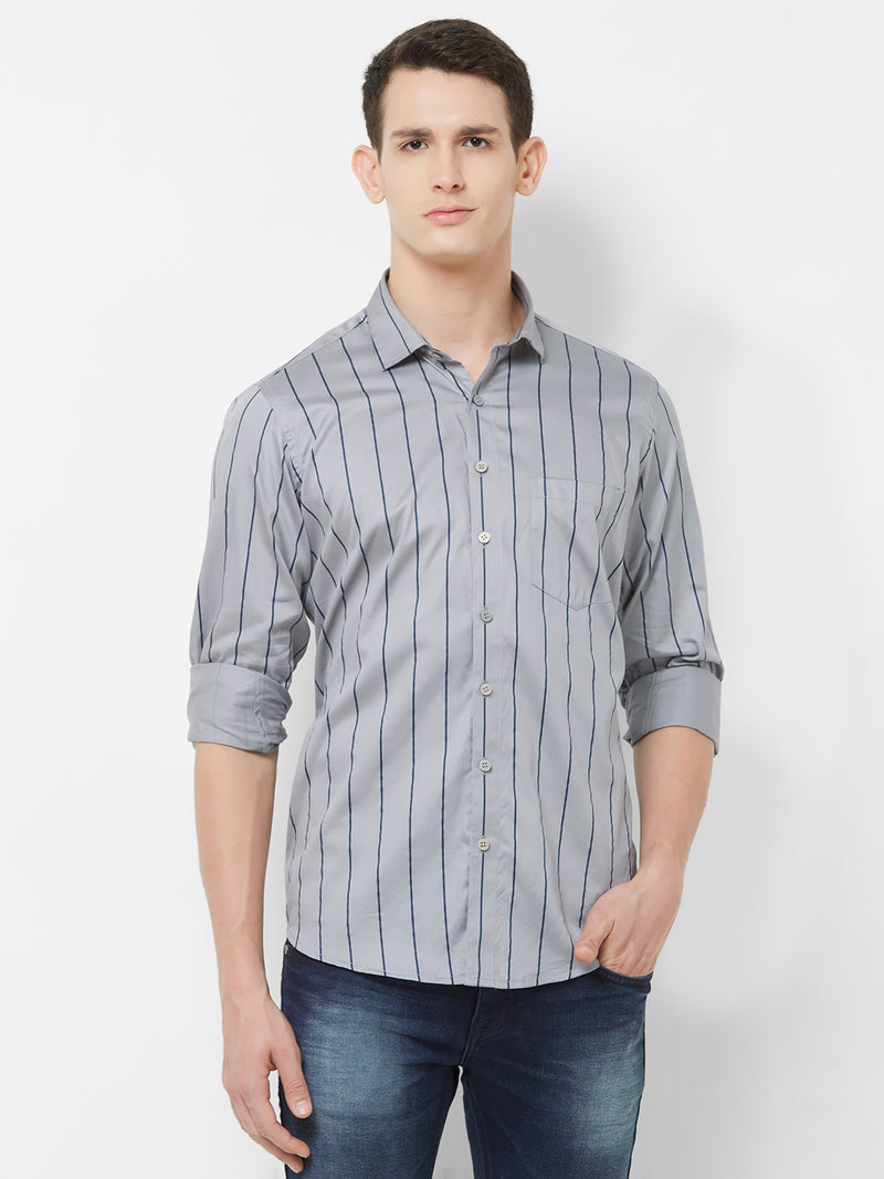 Ash Stripes - EVOQ Men's 100% Pure Superior Cotton Gray and Blue Pinstripes Full Sleeves Casual Shirt - EVOQ