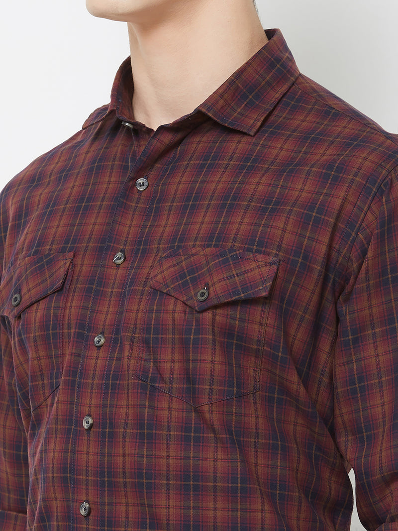 Red Indian - EVOQ Men's 100% Pure Superior Cotton Red Checkered Full Sleeves Casual Shirt
