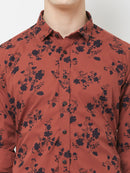 Rustic Blossom - EVOQ Men's 100% Pure Superior Cotton Rust Printed Full Sleeves Casual Shirt
