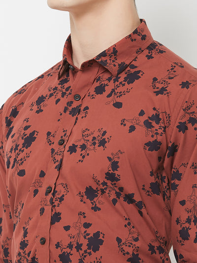 Rustic Blossom - EVOQ Men's 100% Pure Superior Cotton Rust Printed Full Sleeves Casual Shirt - EVOQ