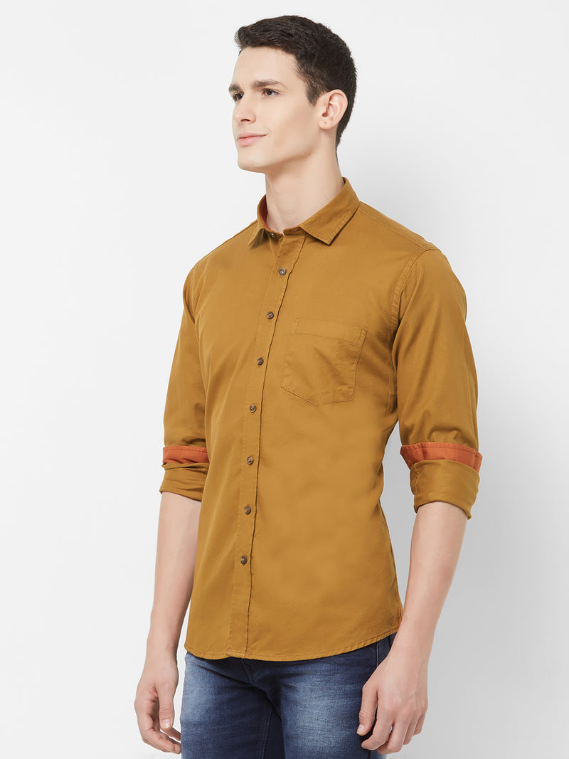 Caramel Prince - EVOQ Men's 100% Pure Superior Cotton Brown Mustard Full Sleeves Casual Shirt - EVOQ