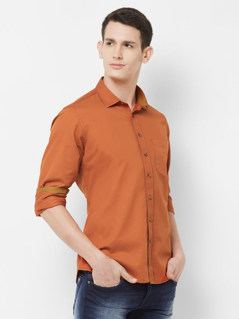 Rustic Intense - EVOQ Men's 100% Pure Superior Cotton Rust Full Sleeves Casual Shirt