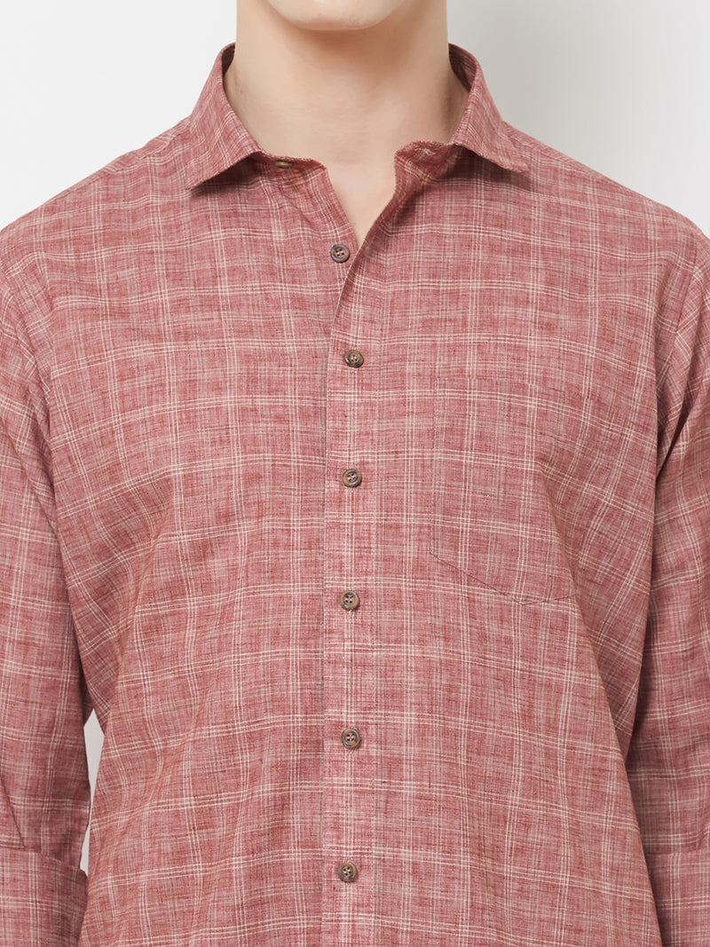 Red Flag - EVOQ Men's Superior Quality Cotton-Linen Red Full Sleeves Casual Shirt - EVOQ