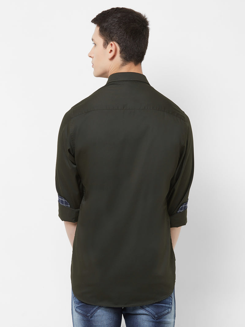Olive Rock - EVOQ Men's 100% Pure Superior Cotton Black Full Sleeves Casual Shirt