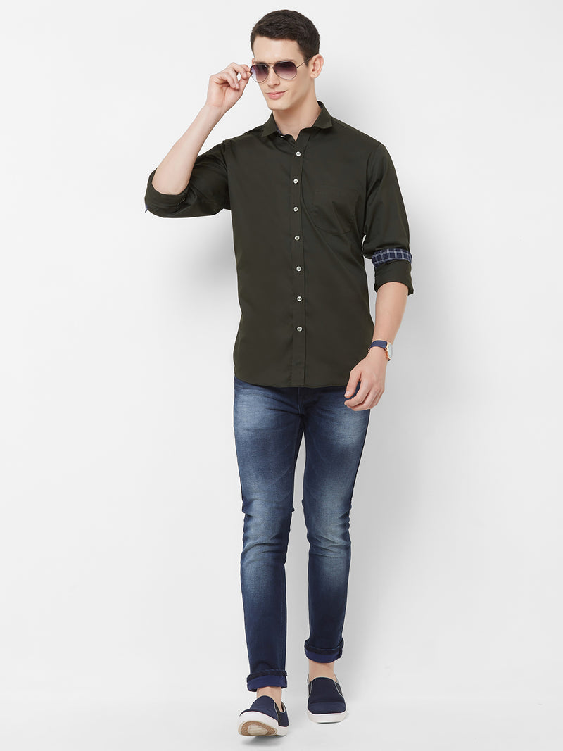 Olive Rock - EVOQ Men's 100% Pure Superior Cotton Black Full Sleeves Casual Shirt - EVOQ