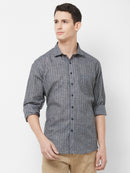 Sombre Ribbon - EVOQ Men's Superior Quality Cotton-Linen Grey Stripped Full Sleeves Casual Shirt
