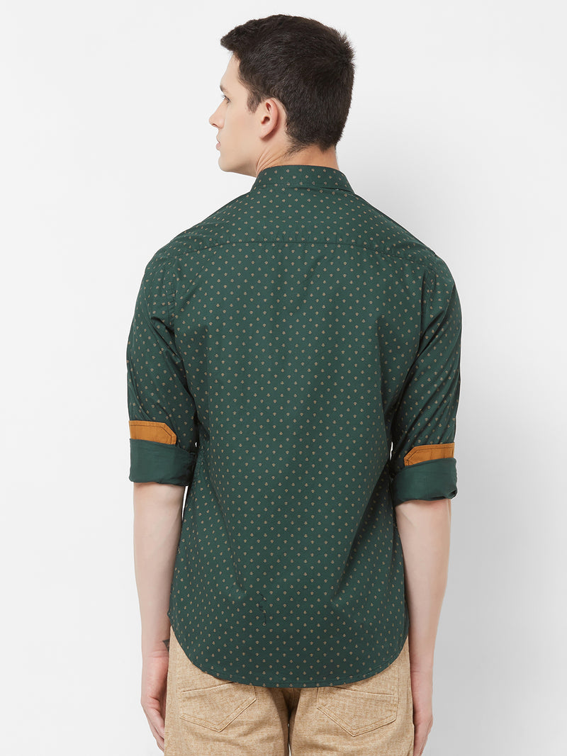 Starlit Night - EVOQ Men's 100% Pure Superior Cotton Green Printed Full Sleeves Casual Shirt