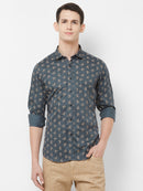 Grey Bloom - EVOQ Men's 100% Pure Superior Cotton Grey Printed Full Sleeves Casual Shirt