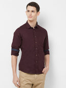 Maroon Twist - EVOQ Men's 100% Pure Superior Cotton Maroon Full Sleeves Casual Shirt - EVOQ