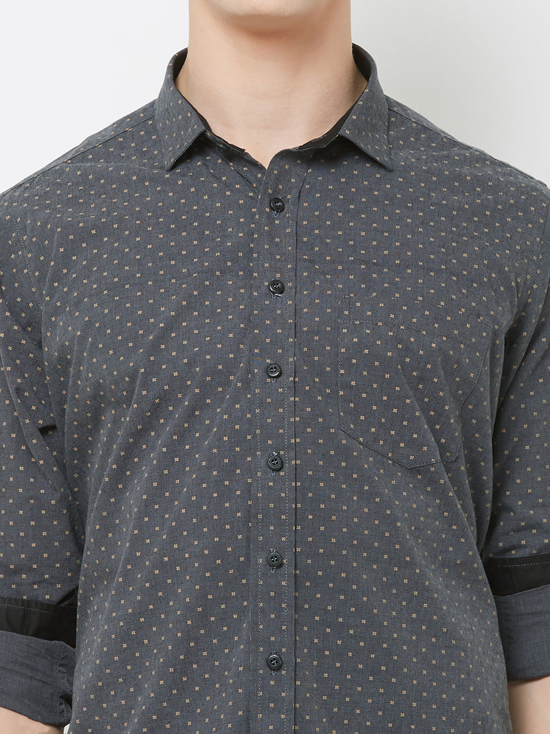 Stormy Night - EVOQ Men's 100% Pure Superior Cotton Black Printed Full Sleeves Casual Shirt - EVOQ