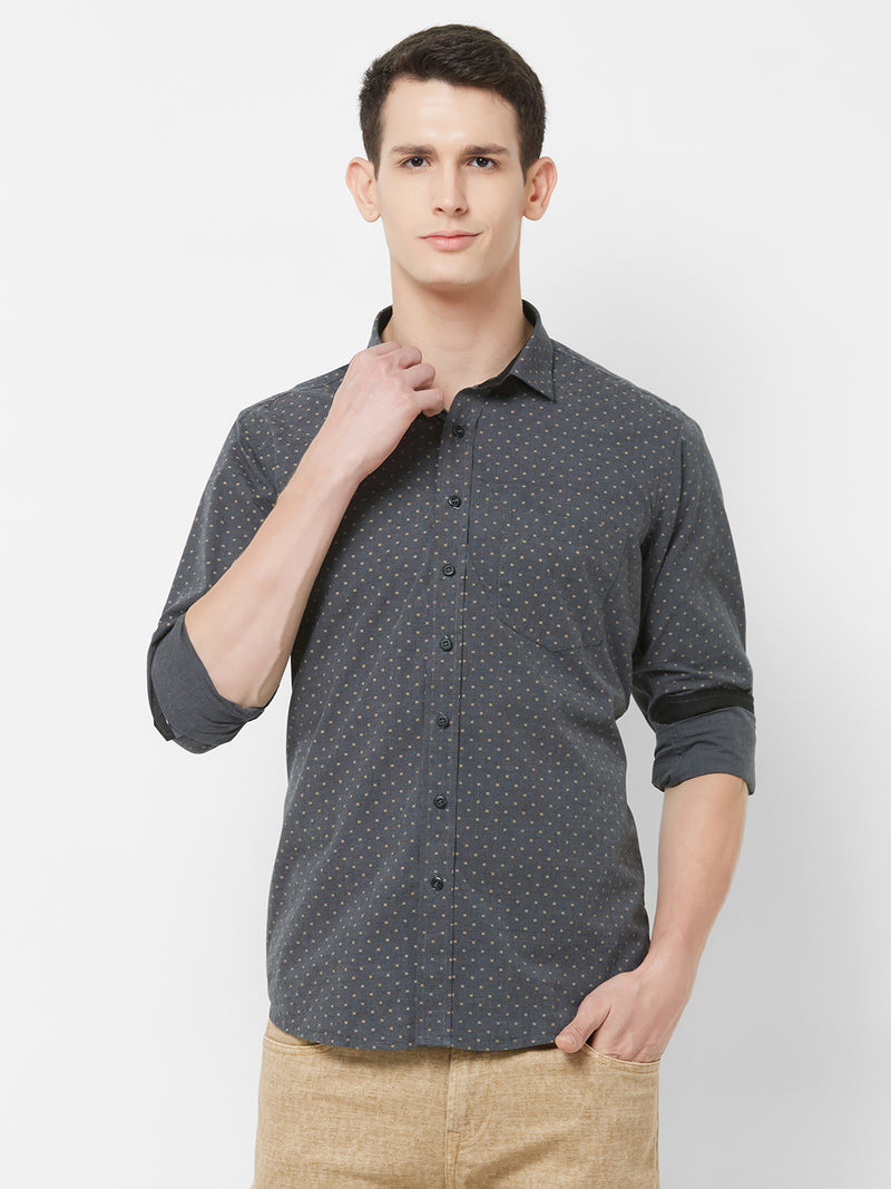 Stormy Night - EVOQ Men's 100% Pure Superior Cotton Black Printed Full Sleeves Casual Shirt