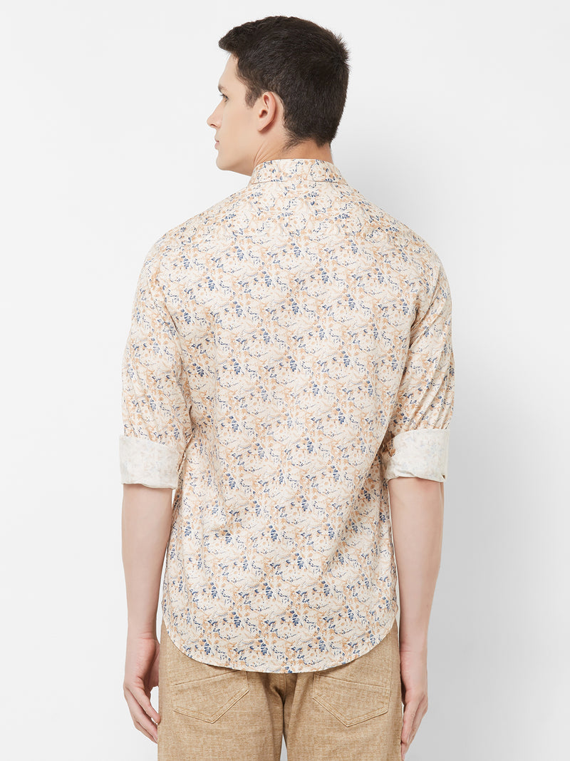 Flower Power - EVOQ Men's 100% Pure Superior Cotton Beige Printed Full Sleeves Casual Shirt