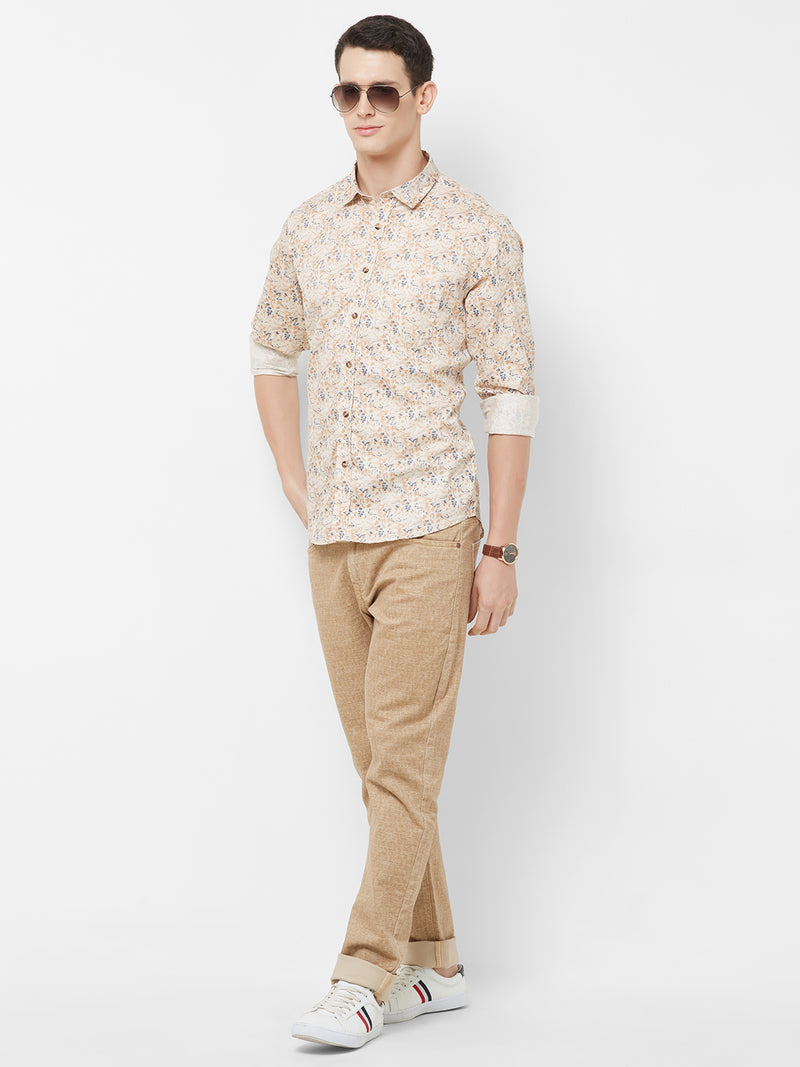 Flower Power - EVOQ Men's 100% Pure Superior Cotton Beige Printed Full Sleeves Casual Shirt - EVOQ