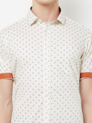 Caramel Latte - EVOQ Men's 100% Pure Superior Cotton Cream Printed Half Sleeves Casual Shirt - EVOQ