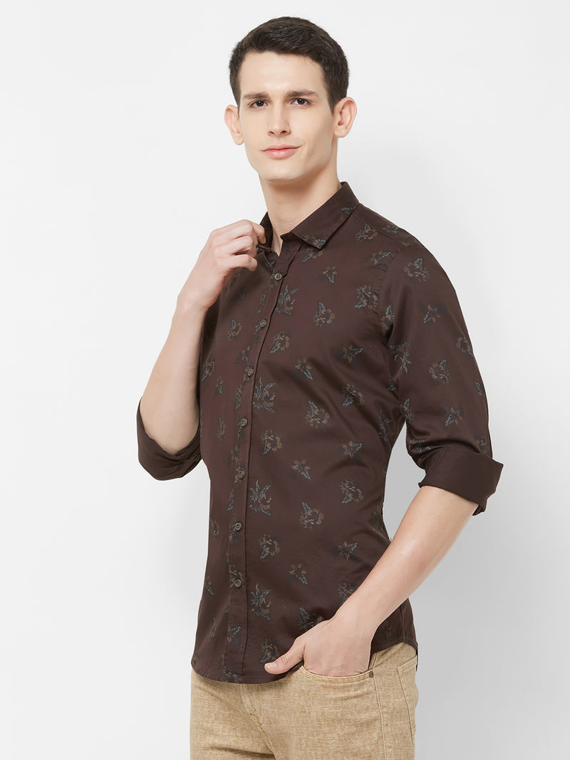 Cacao Garden - EVOQ Men's 100% Pure Superior Cotton Brown Printed Full Sleeves Casual Shirt - EVOQ
