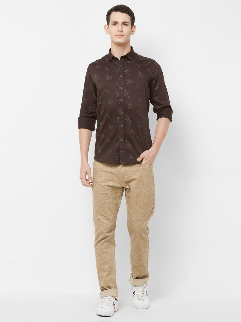 Cacao Garden - EVOQ Men's 100% Pure Superior Cotton Brown Printed Full Sleeves Casual Shirt