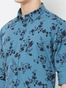 Blueberry Blossom - EVOQ Men's 100% Pure Superior Cotton Blue Printed Full Sleeves Casual Shirt - EVOQ