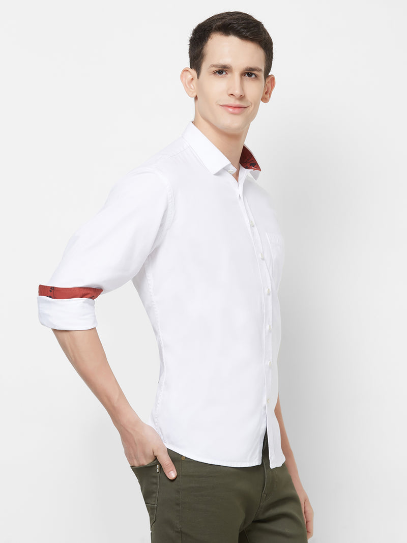 Classic Twist - EVOQ Men's 100% Pure Superior Cotton White Full Sleeves Casual Shirt