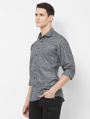 Chessboard - EVOQ Men's Superior Quality Cotton-Linen Grey Full Sleeves Casual Shirt - EVOQ
