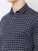Check-Mate - EVOQ Men's 100% Pure Superior Cotton Blue Checkered Full Sleeves Casual Shirt - EVOQ